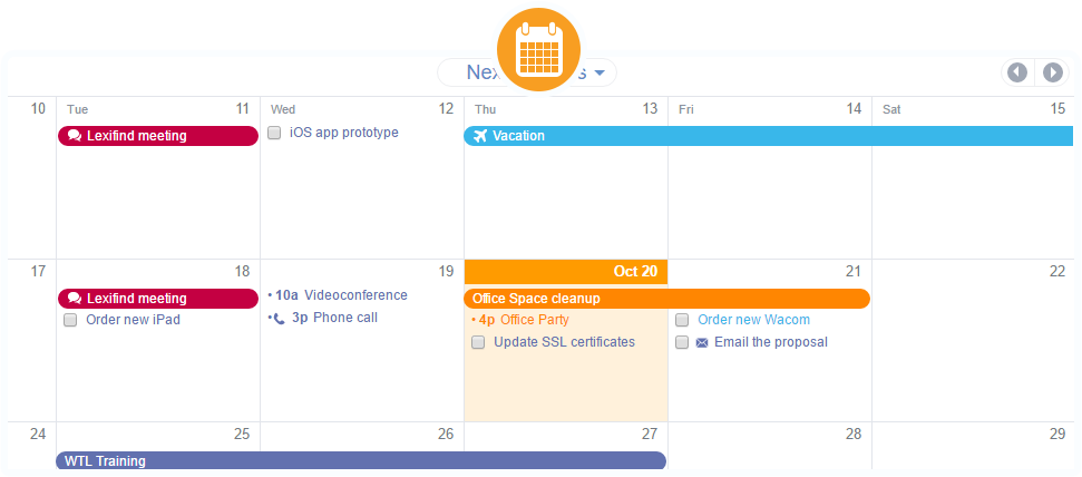Calendar View with private and public calendars, single and recurring events, tasks and more...